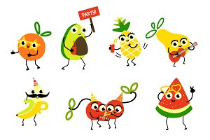 Set of fruit characters having fun