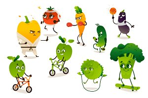 Set of funny vegetables doing sport