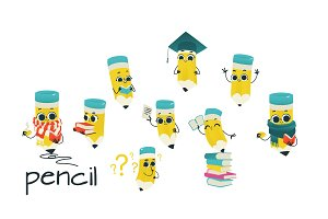 Cute pencil cartoon characters set
