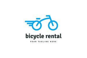 Bicycle line rounded vector logo