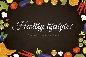 "Icons and banners""Healthy Lifestyle"""