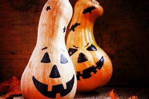 Halloween pumpkin on old wooden back