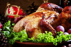 Christmas roast turkey or chicken de