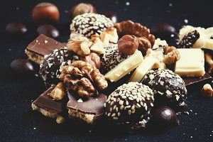 Chocolates, sweets, hazelnuts and wa