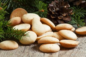 Christmas round gingerbread cookies,