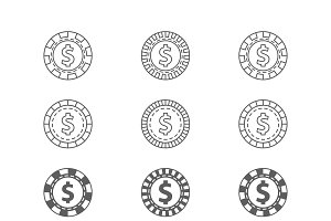 Set of casino gambling chips