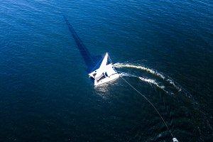 aerial white travel cruise yacht iso
