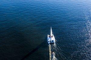 aerial luxury trip yacht shopping in