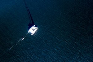 aerial top down view of sport sail y
