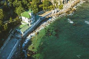 aerial luxury house on the sea coast
