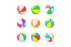 3d Beach Balls Set. Vector