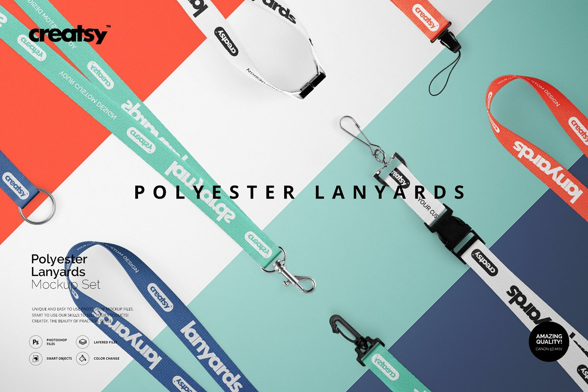 99e97798a9f6b Polyester Lanyards Mockup Set ~ Product Mockups ~ Creative Market