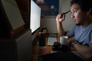 Portrait of Asia Businessman sitting
