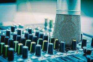Closeup microphone over the audio mi