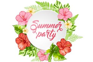 Summer Banner with Tropical Flowers