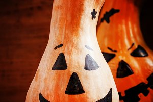 Halloween pumpkin on old wooden back