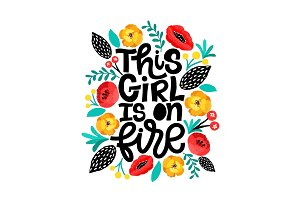 This girl is on fire. Lettering card