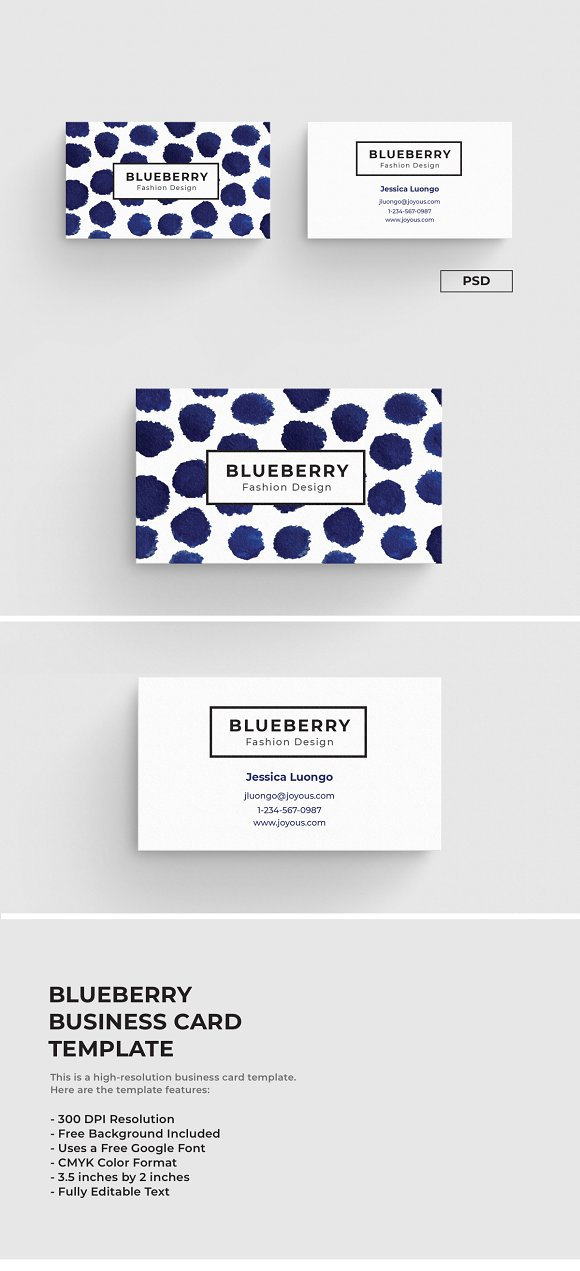 Blueberry Business Card Template Business Card Templates