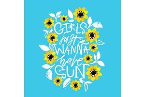 Girls just wanna have sun! Card.