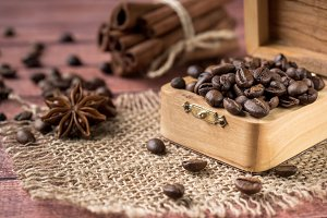 Coffee beans in a wooden box with