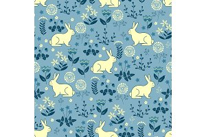 Seamless pattern with bunny forest