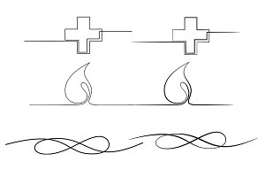 Signs Bundle. Continuous line draw