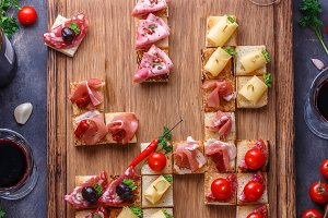 Spanish tapas on crusty bread topped