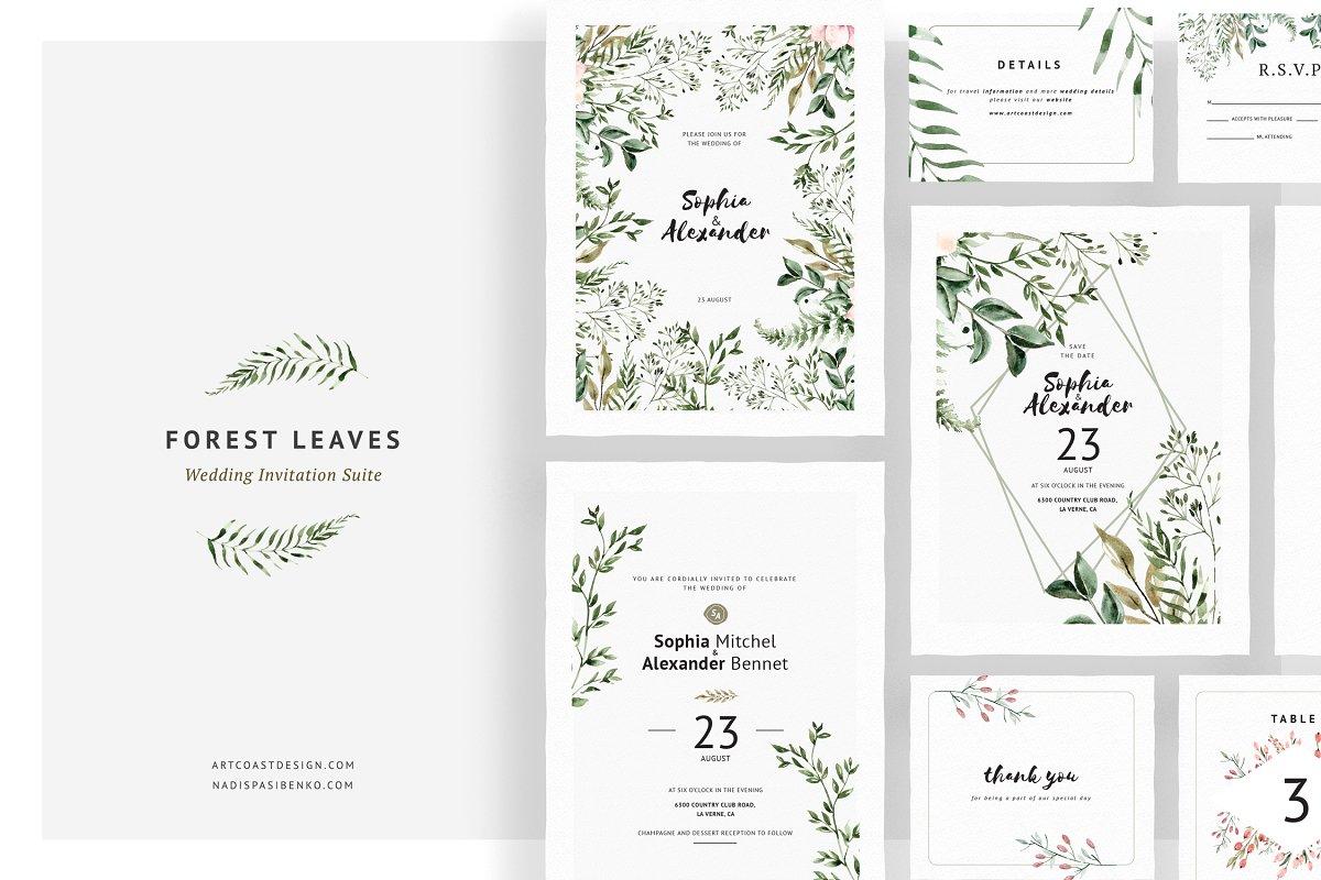 Leer En Linea Forest Leaves Wedding Invitations