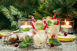 Festive hot ginger lemon drink on th
