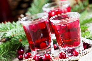 Cranberry drink on Christmas backgro
