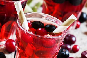Autumn drink with cranberry and aron