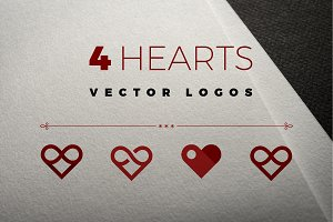 4 vector logos of hearts