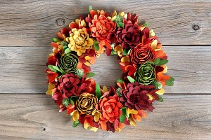 Colorful Wreath made of wood flowers
