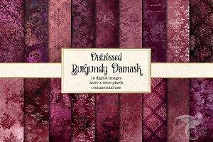Burgundy Distressed Damask