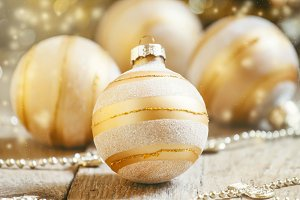 Golden Christmas balls on decorated