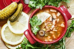 Russian Meat solyanka soup in cerami