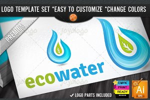 Aquatic Drop Eco Water Logo Template