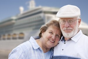 Senior Couple On Shore in Front of C