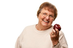 Attractive Senior Woman with Red App