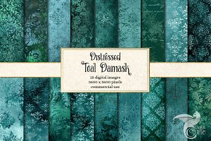 Teal Distressed Damask Textures