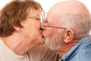 Affectionate Senior Couple Kissing