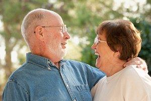 Happy Senior Couple Outdoor Portrait