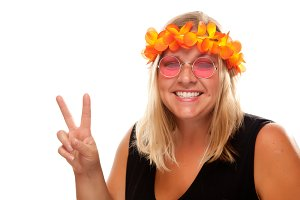 Beautiful Hippie Girl with Peace Sig