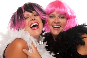 Portrait of Two Pink And Black Haire