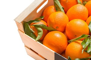 Wooden box of valencian oranges