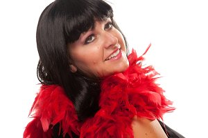 Pretty Girl with Red Feather Boa