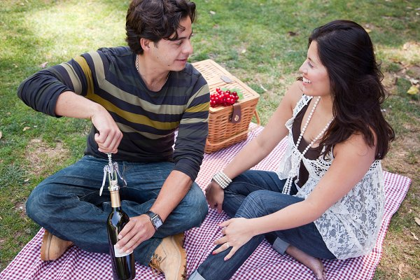 Attractive Hispanic Couple Having a…