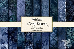 Navy Distressed Damask Textures
