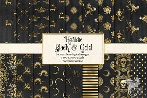 Heraldic Black & Gold Digital Paper