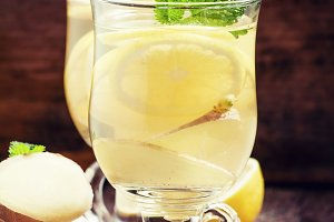 Hot ginger tea with lemon and mint,